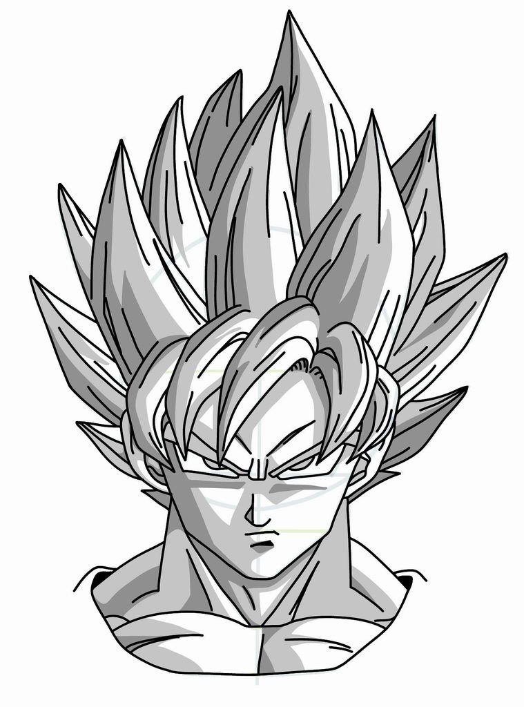 Drawing goku super saiyan from dragonball z tutorial id es tatoo comment dessiner goku - Dessin sangoku ...