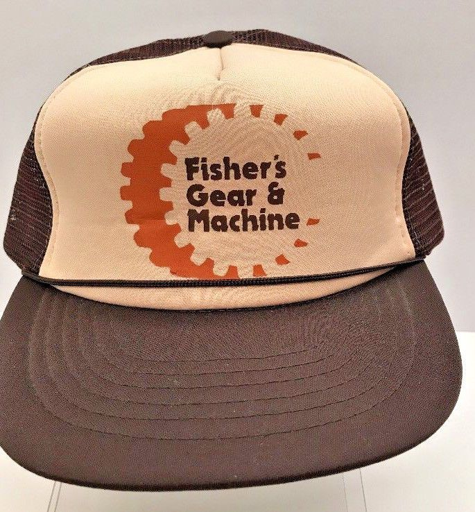 7a13000d3d8e8 Fishers Gear   Machine Vtg Trucker Hat Baseball Cap Brown Mesh Adjustable