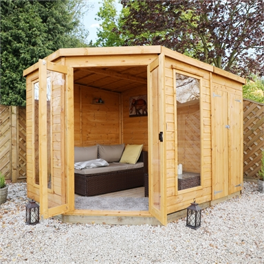 Mercia 11x7ft Summerhouse With Side Shed Homebase In 2020 Corner Summer House Building A Shed Shed Building Plans