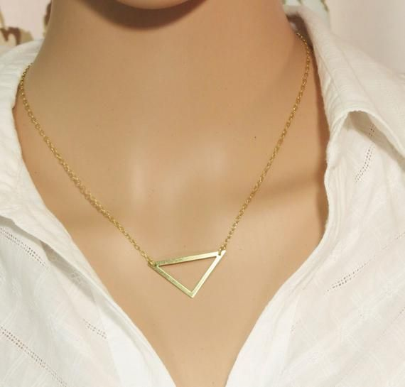 Photo of Triangle Necklace, Triangle Pendant, Dainty Gold Triangle Necklace, Minimalist Geometric, Fashion Necklace, Fashion Unique Jewelry.