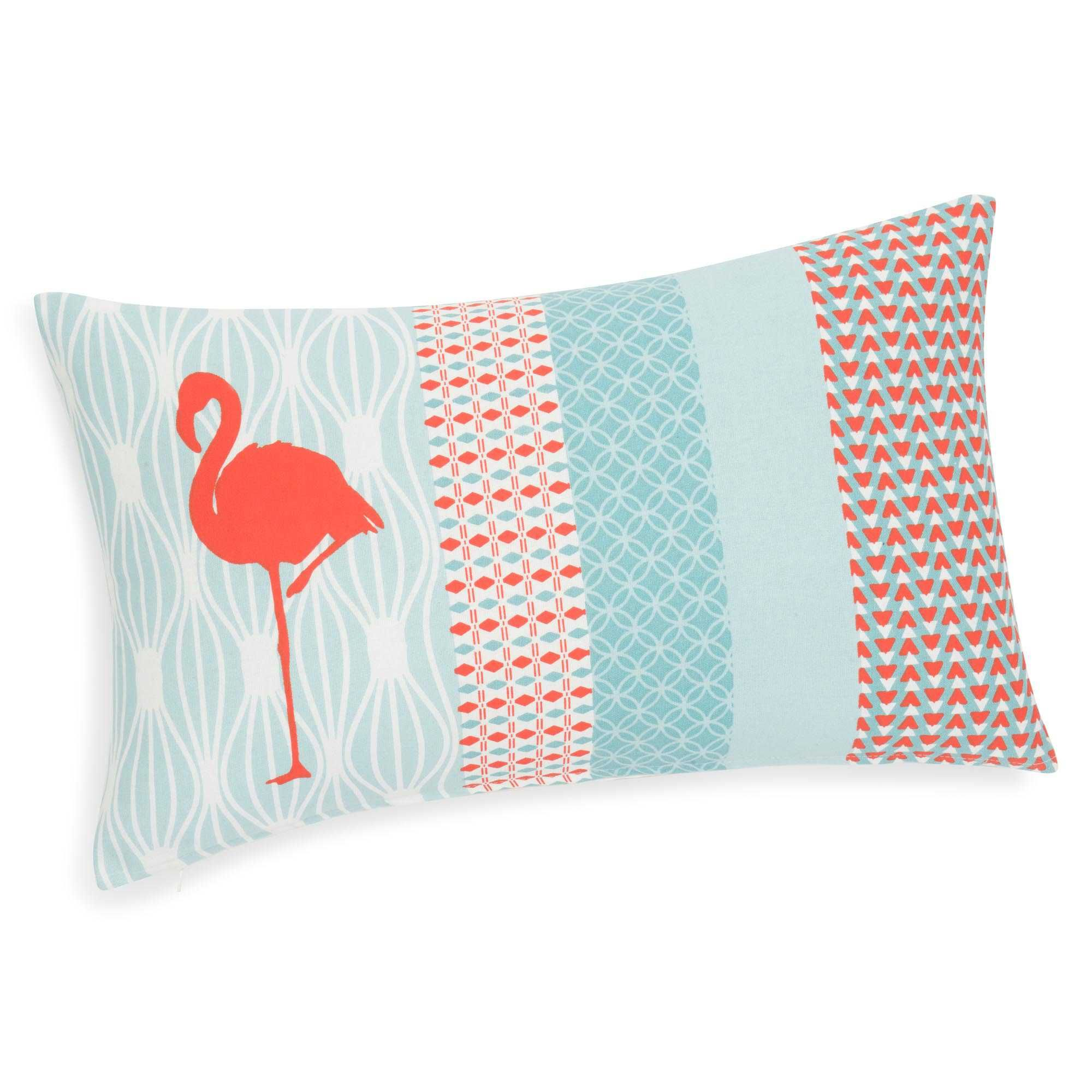 housse de coussin en coton 30 x 50 cm flamingo maisons. Black Bedroom Furniture Sets. Home Design Ideas