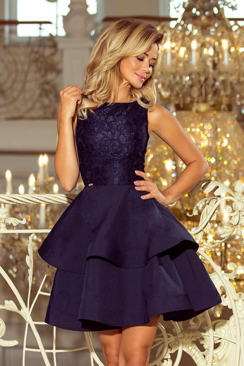Photo of Dress with Lace Top and Double Ruffle Navy Blue NU205 …