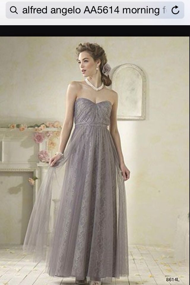 Alfred Angelo Long Dress With Lace And Chiffon Layering In Morning Fog Colour Vintage Bridesmaid