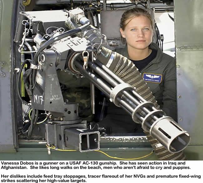 profile of a soldier. This little gun can fire one hundred rounds per second.