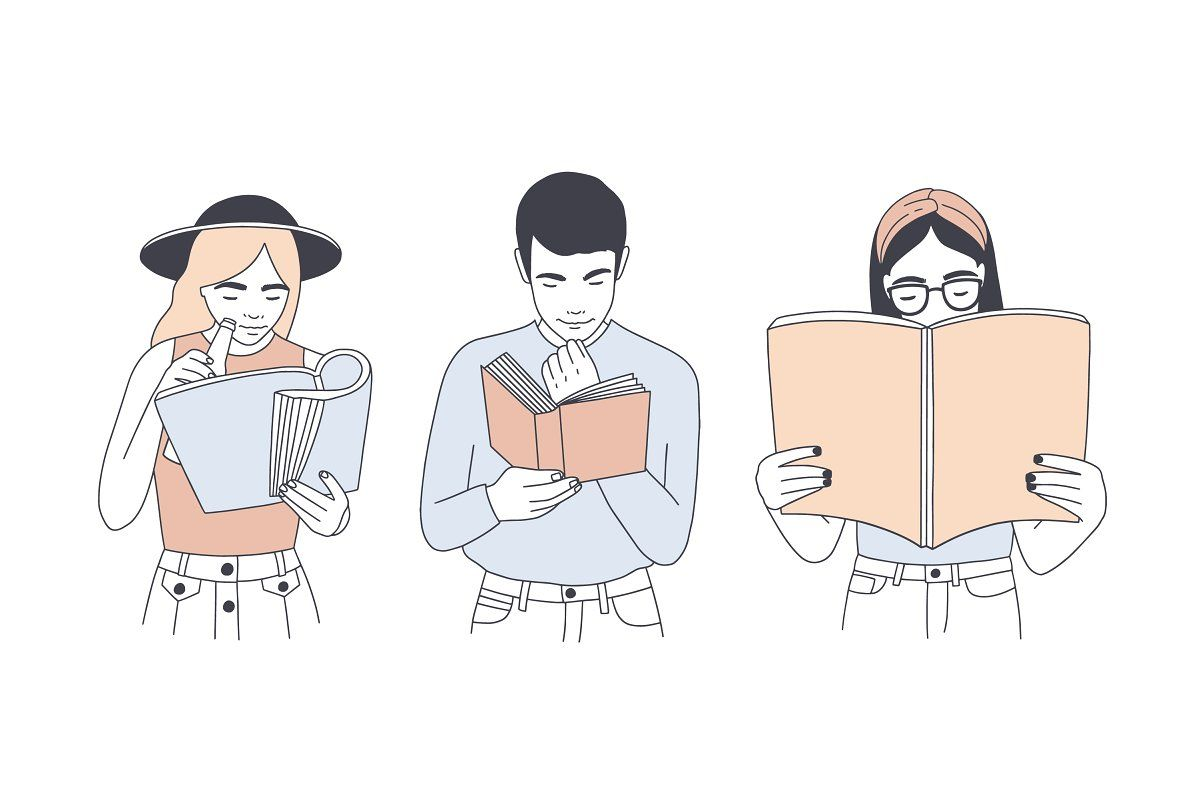 People Reading Books Reading Books Illustration Vector Illustration People Books To Read For Women