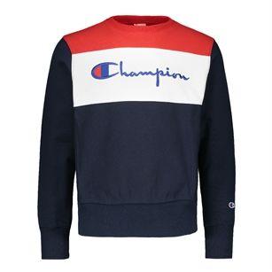 10a76b215dfc Champion Crewneck sweatshirt big logo, Blue Dark, medium | Heritage ...