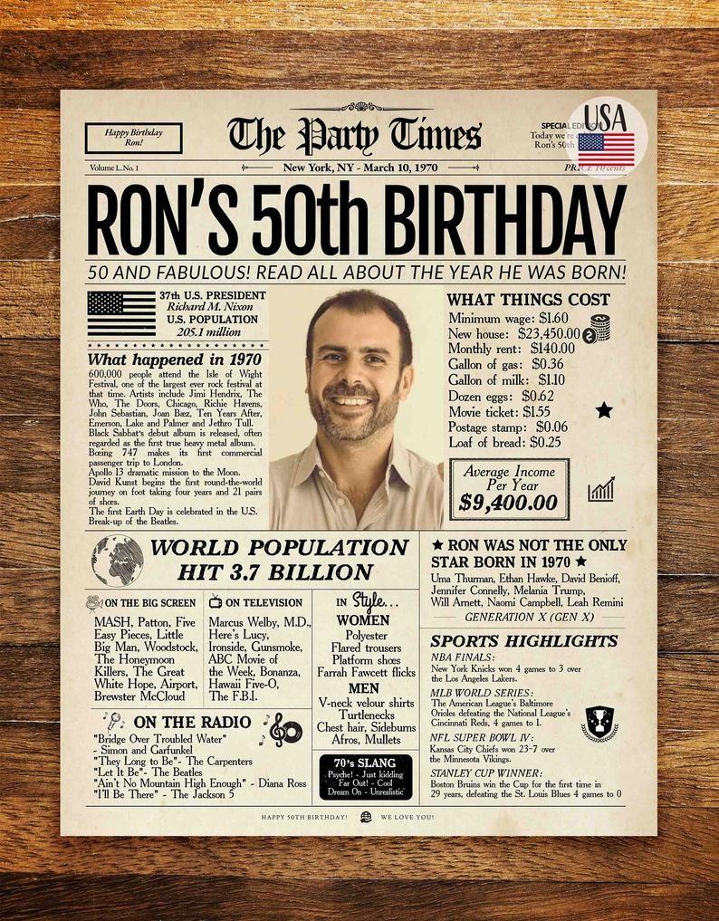 1970 50th Birthday Newspaper Canada Or Usa 1970 Birthday Poster