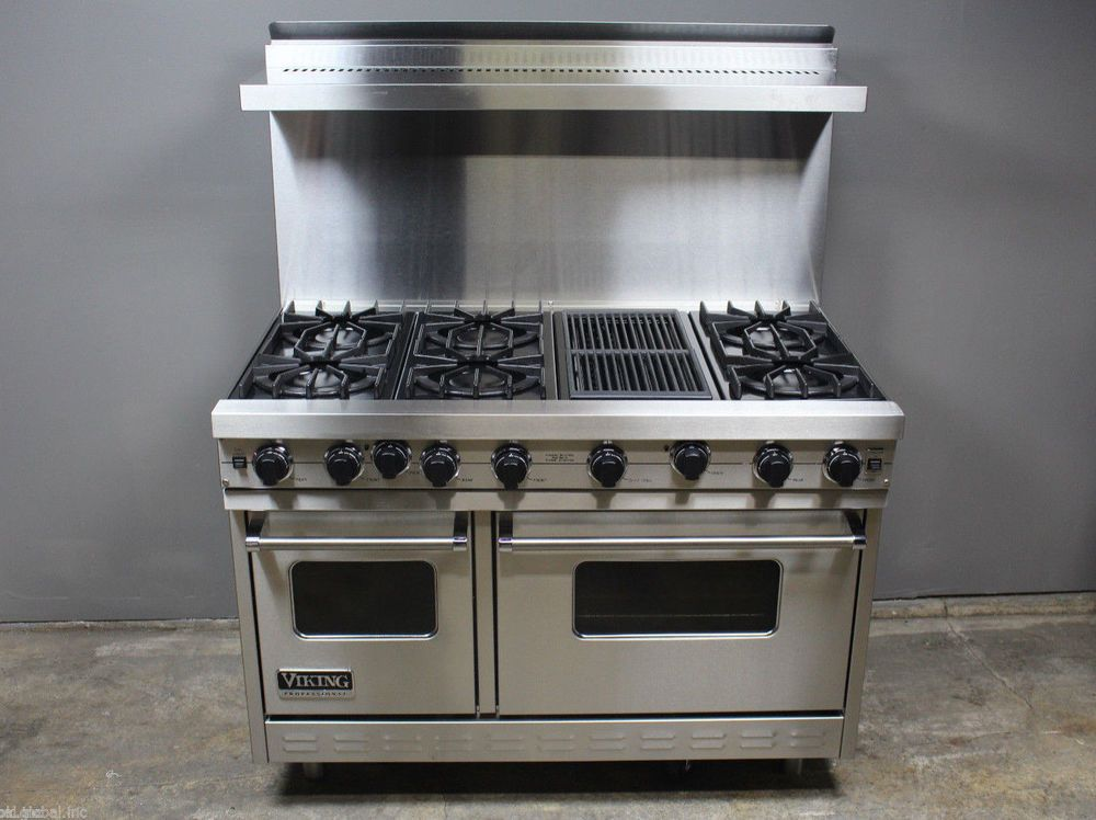 Viking 48 All Gas 6 Burner Range Double Stove With Griddle The Stove Is In Really Good Condition Looks Like Wa 6 Burner Bbq Bbq Grill Stove With Griddle