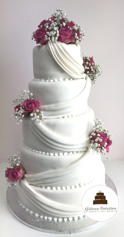 wedding cake mod u00e8le melissa avec ses drap u00e9s et ses fleurs fra u00eeches  commandez d u00e8s aujourd u0026 39 hui