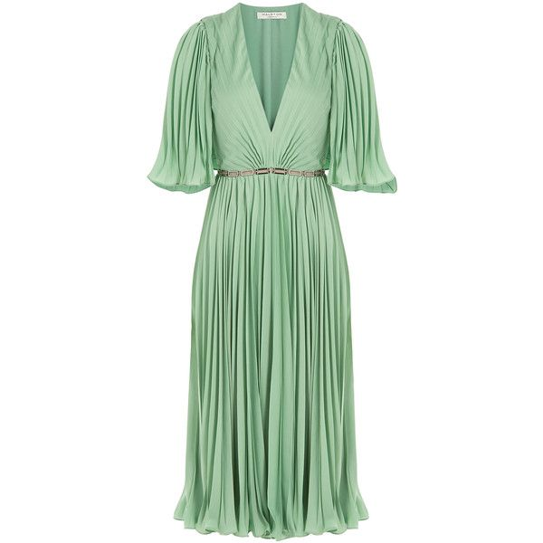 Halston Heritage Pleated Dress ($775) ❤ liked on Polyvore featuring dresses, green, cocktail dresses, green evening dresses, sheer cocktail dress, plunging v neck dress and green cocktail dress