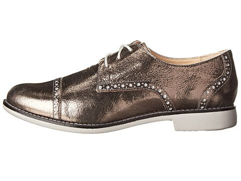 Womens Shoes Cole Haan Gramercy Oxford Dark Silver Metallic Crackle/Paloma