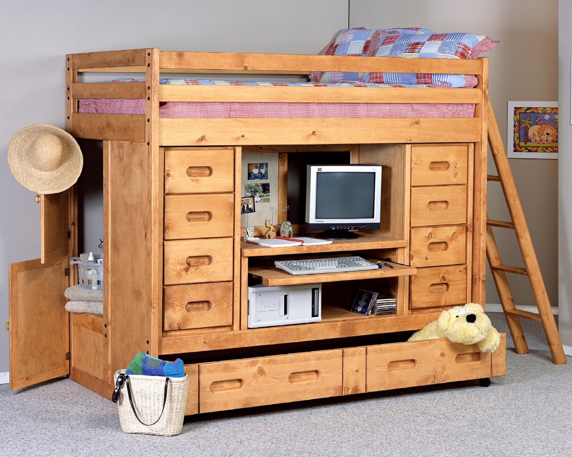 University loft graduate series twin xl open loft bed natural finish - Bunkhouse Twin Rodeo Loft Bed By Trendwood