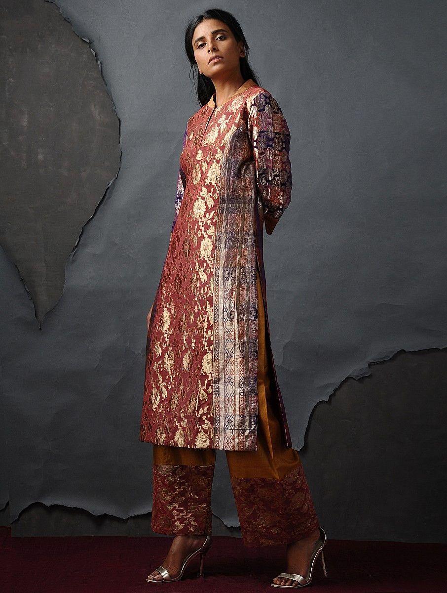 Buy Orange Purple Vintage Benarasi Silk Brocade Kurta By Jaypore