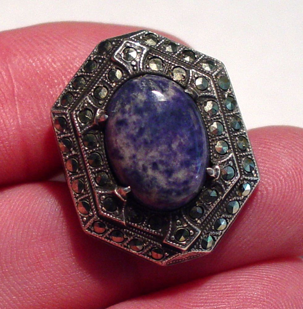 LARGE ART DECO THEODOR FAHRNER STERLING BLUE AGATE MARCASITE STEP RING #THEODORFAHRNER #STEP