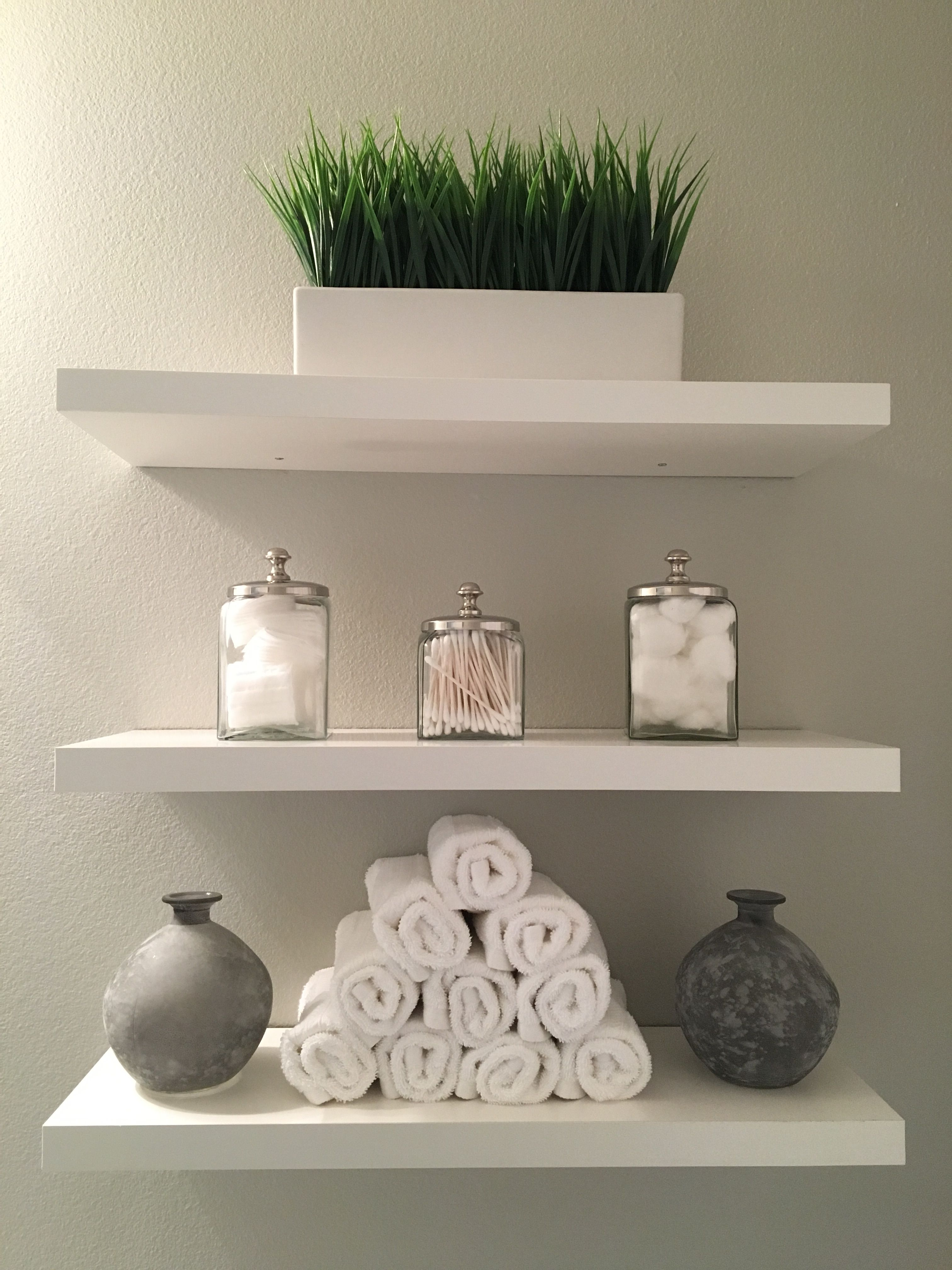 Bathroom Shelves Modern Clean White And Grey Added Shelves