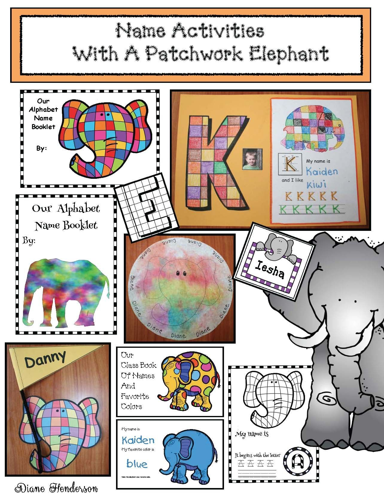 elmer the elephant activities name writing activities. Black Bedroom Furniture Sets. Home Design Ideas