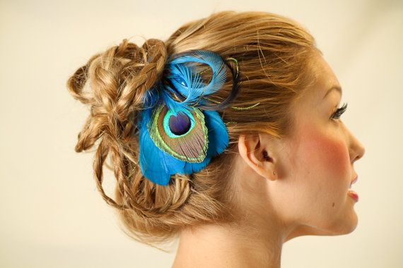 Turquoise Peacock Feather Hair Clip Fascinator by ashleigh1954, $24.00~this is soo cool! I luv it!