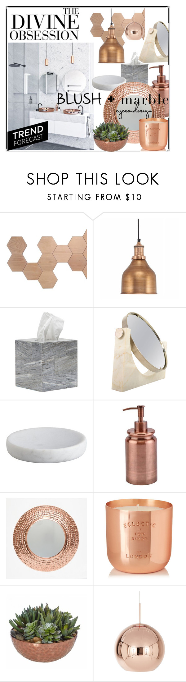 """marble + blush bathroom"" by zerinafe ❤ liked on Polyvore featuring interior, interiors, interior design, home, home decor, interior decorating, Vera Wang, Pigeon & Poodle, CB2 and Aquanova"