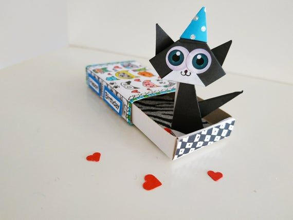 Photo of Cat Birthday card, Match Box, Origami Kitty, Funny cat card, Matchbox Gift, Cute gift, Pop up card, Matches box card, Match Box Art