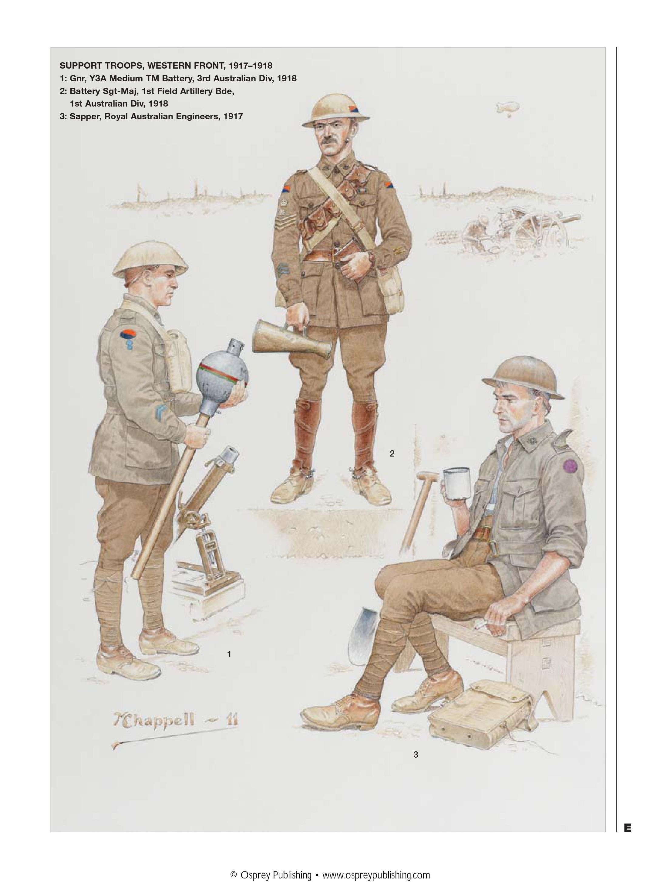 Support Troops Western Front 1917 18 1 Gunner Y3a Medium Tm Battery 3rd Australian Division 2 Battery Sergea Army Poster World War One Military History