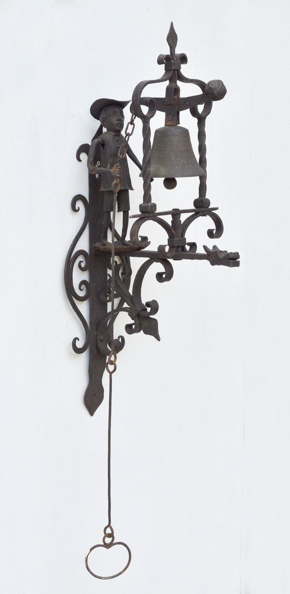 Antique S. YELLIN Style Wrought IRON Door BELL Pull String C1900 Colonial  Drago