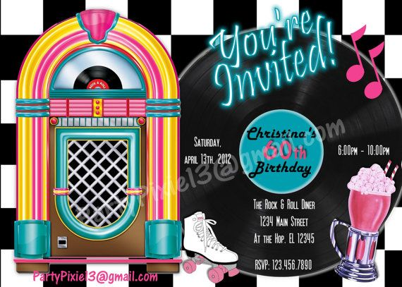Rock And Roll Retro 50 S Party Package And Invitation