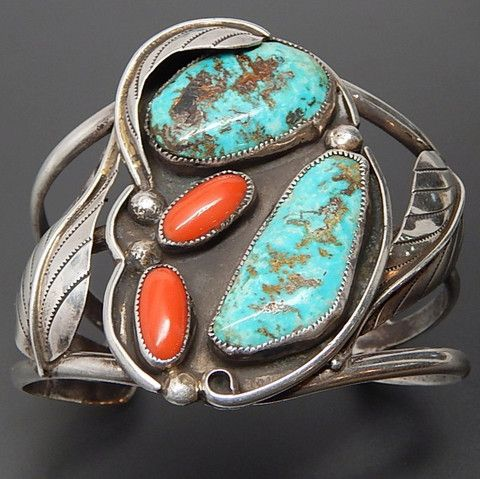 NATIVE AMERICAN NAVAJO STERLING SILVER TURQUOISE & CORAL LEAVES WIDE CUFF BRACELET – Gold Stream Boutique