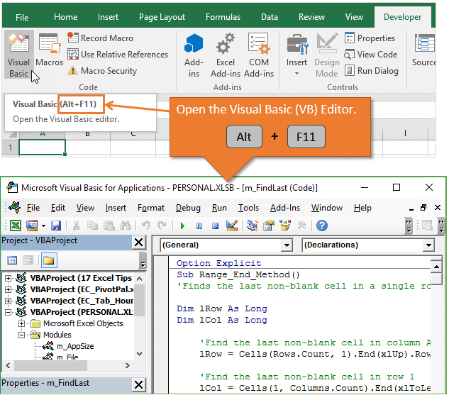 Open The Visual Basic Editor Alt F11 Excel Shortcuts Excel Living Skills