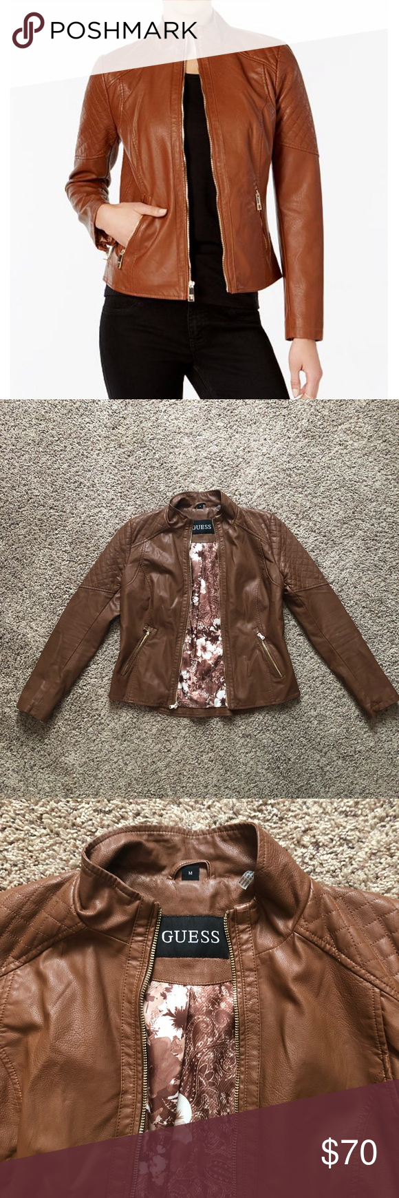 Guess Stand Collar Faux Leather Jacket Leather Jacket Faux Leather Jackets Jackets [ 1740 x 580 Pixel ]