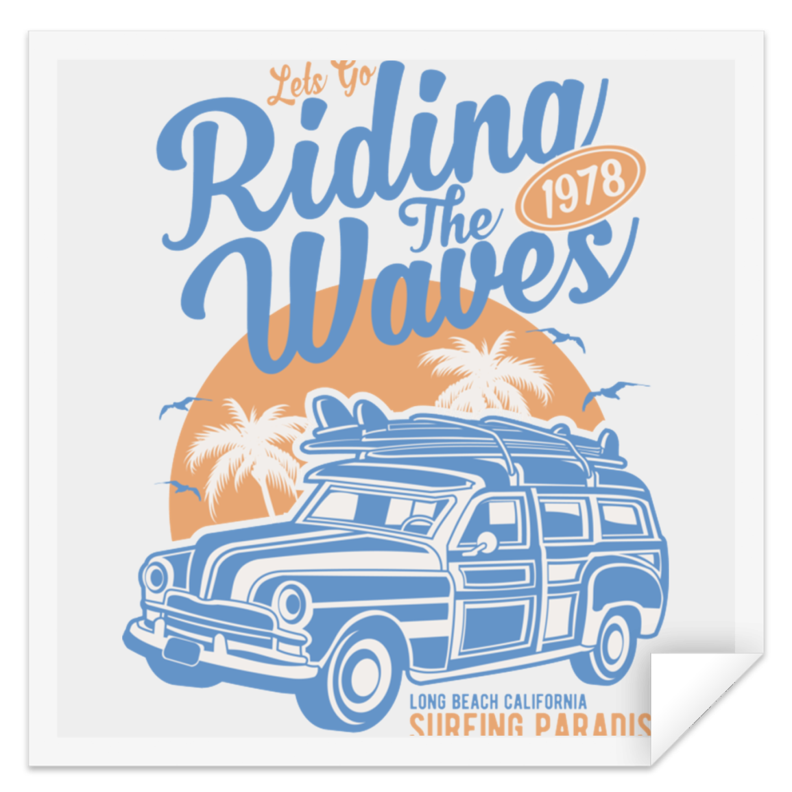 Riding The Waves Square Sticker