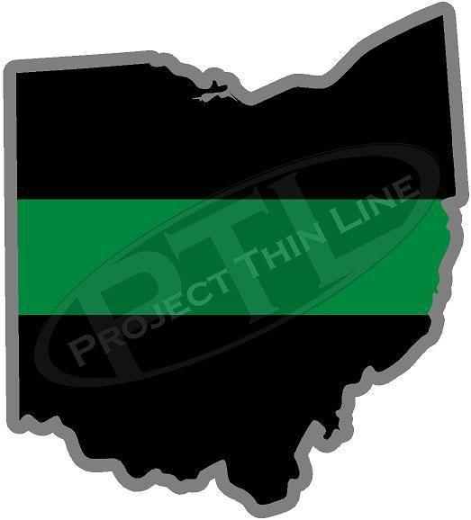 "5"" Ohio OH Thin Green Line Black State Shape Sticker"
