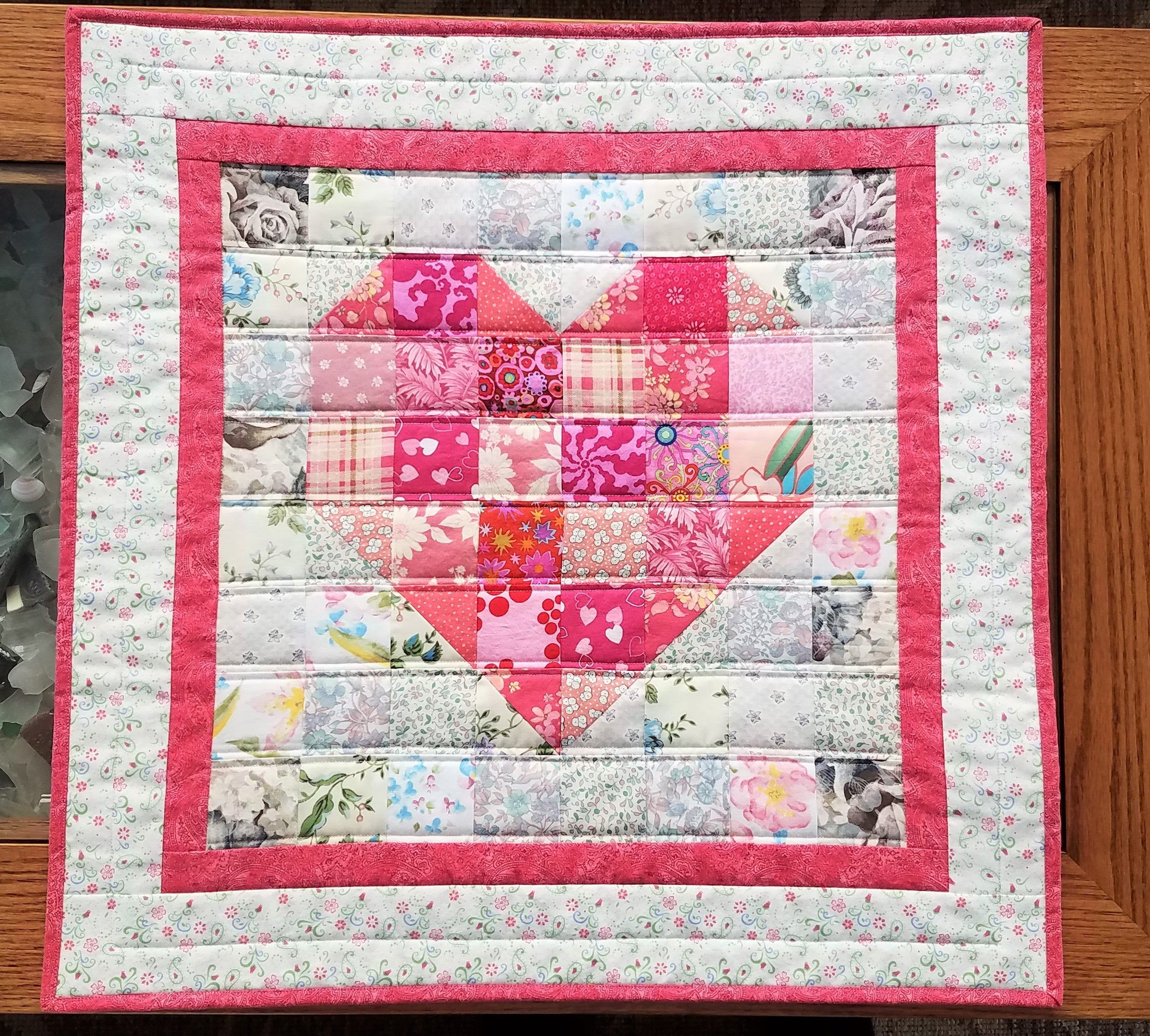 Heart Quilted Wall Hanging Valentine S Day Table Topper Pink Heart Wall Hanging Door Decoration In 2020 Rainbow Quilt Quilted Wall Hangings Heart Quilt