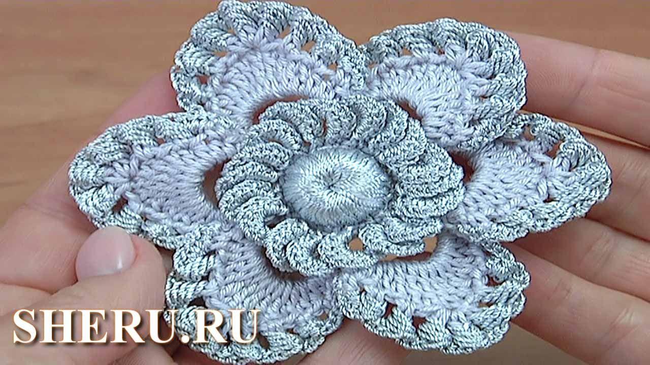 урок вязания цветка крючком цветок 147 цветы крючком видео