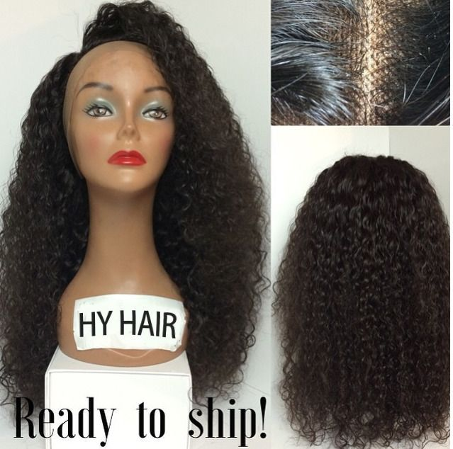 Free Ship Glueless Lace Front Wig Kinky Curly Black 1b Indian Human