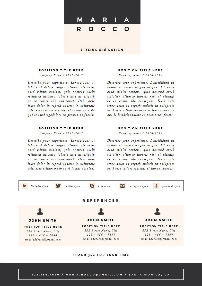3pk Resume / CV Template Cover Letter for door TheResumeBoutique ...