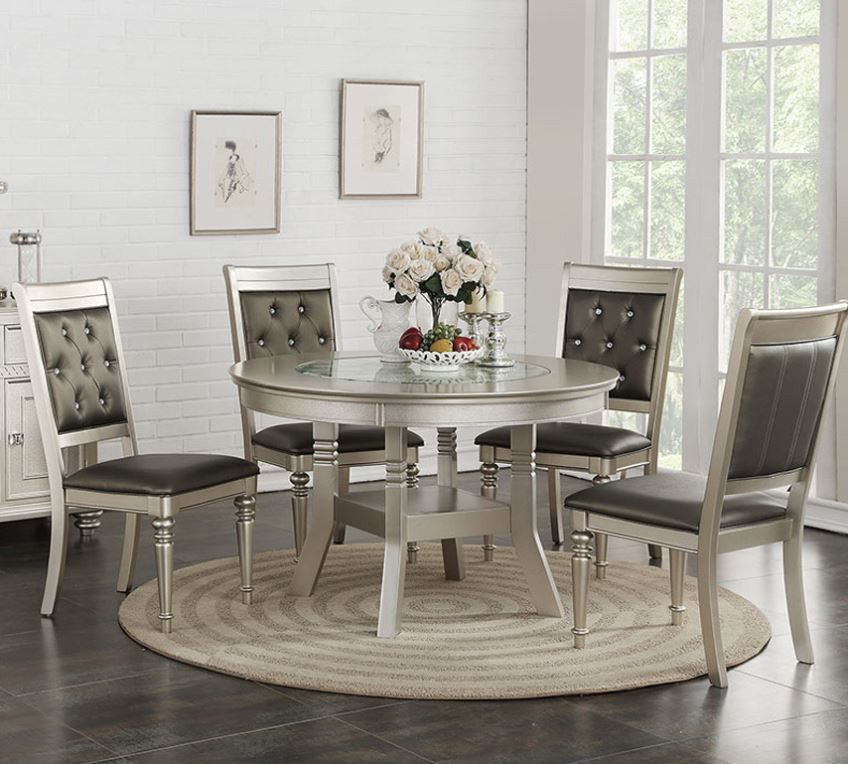 Eclipse Furnishings 5pc Silver Stella Collection Round Dining Table Set Round Dining Room Round Dining Table Sets Round Dining Room Sets