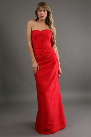 The Dupioni Strapless Dress in Red by Phoebe Couture at CoutureCandy.com