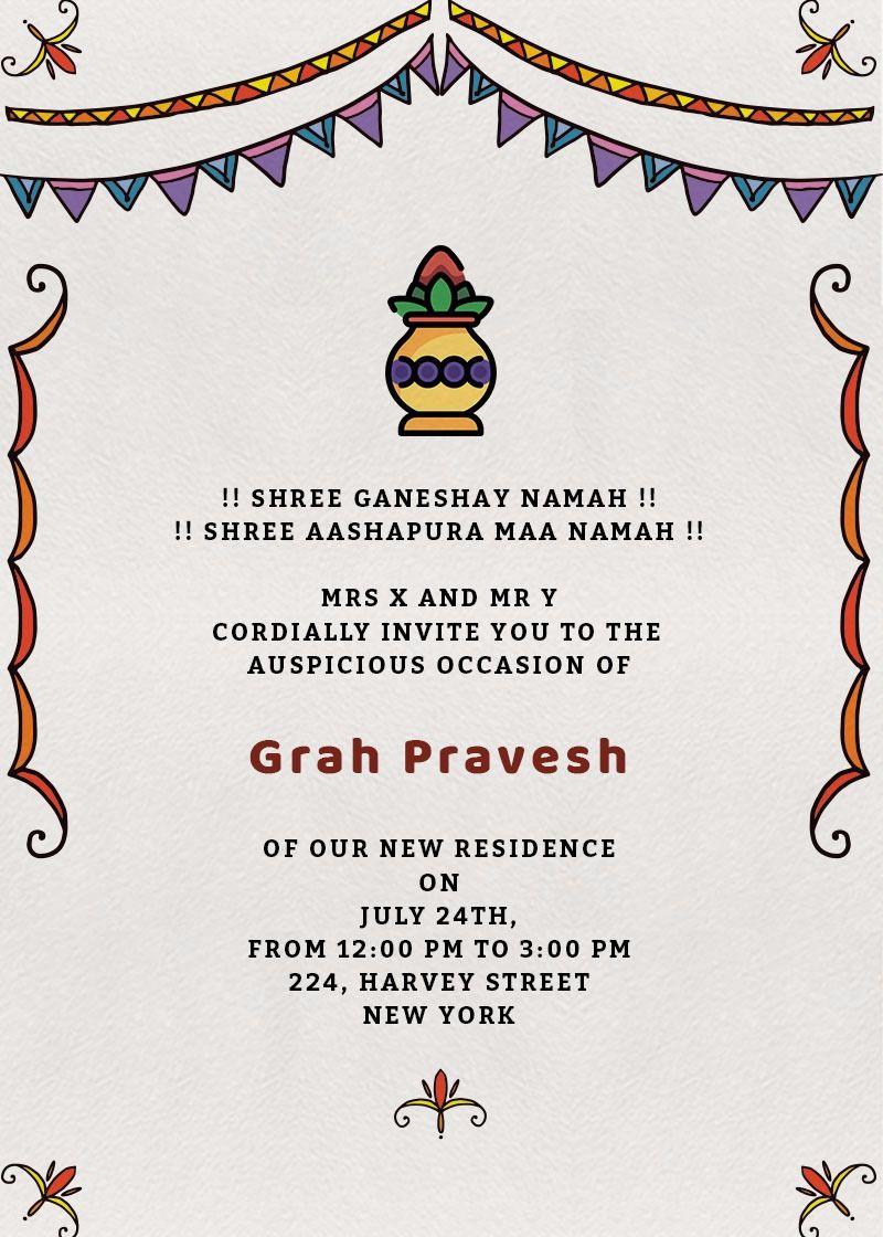 Grah Pravesh Colors Invitation Invites House Warming Invitations Housewarming Invitation Templates Housewarming Invitation Cards