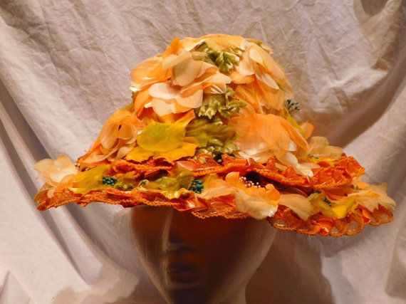 Peach Floral Wide Brim Hat Henry Margu Original