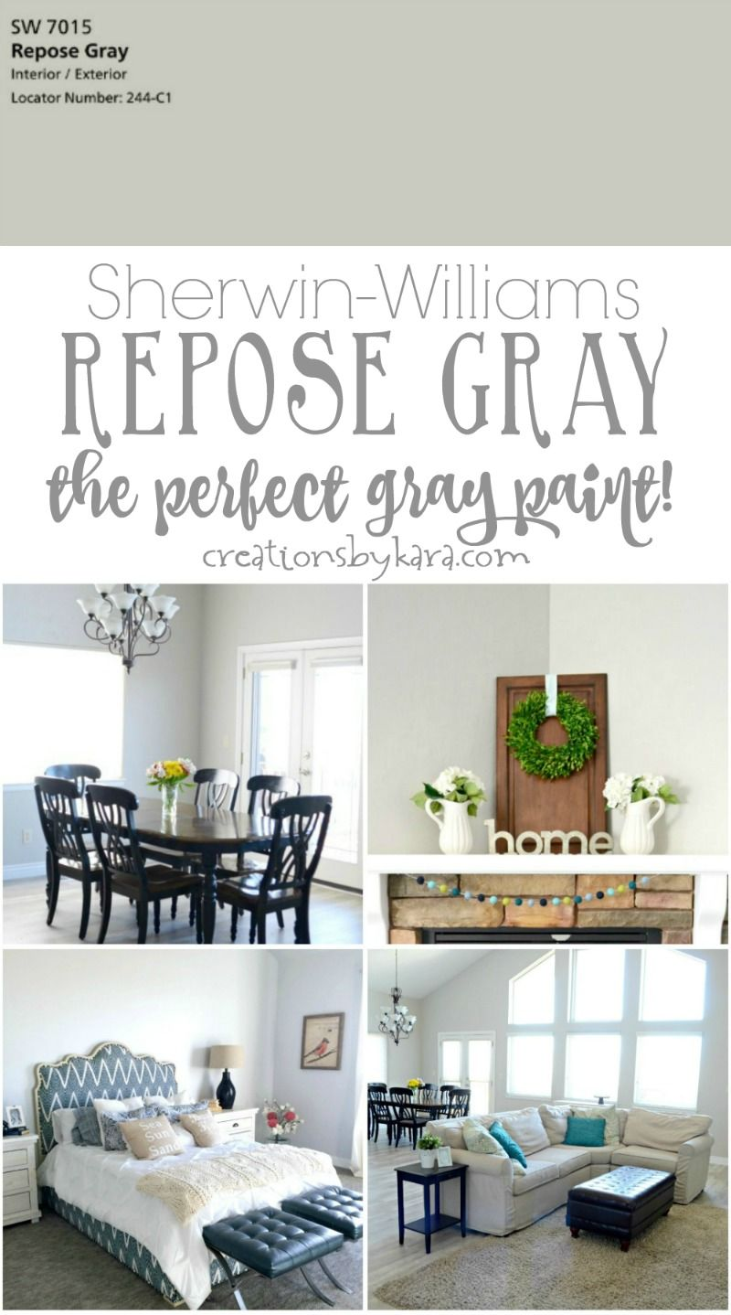 Sherwin Williams Repose Gray The Perfect Paint It Looks Great In Any Lighting A Gorgeous Color Via Creationsbykara