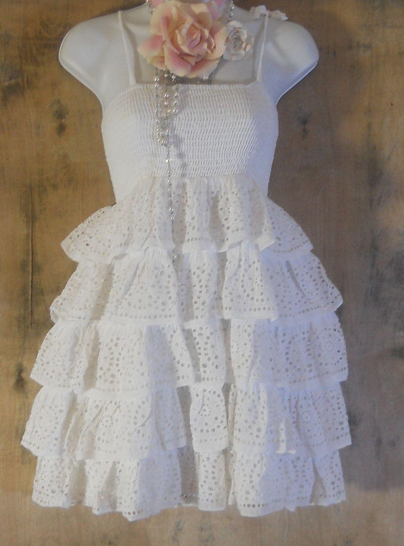 White ruffle dress eyelet lace  vintage  cotton boho romantic medium by vintage opulence on Etsy. $85.00, via Etsy.