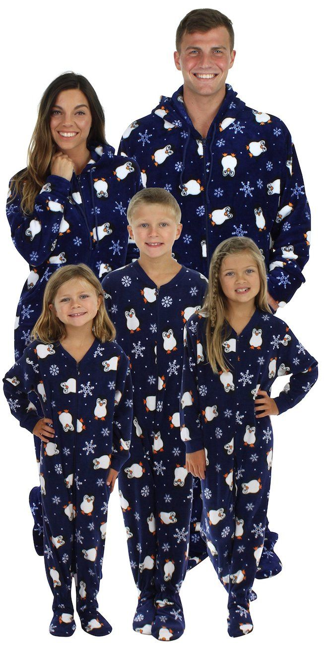 743f217251 Matching Christmas footie pajamas for the family in a penguin print. Love  it!