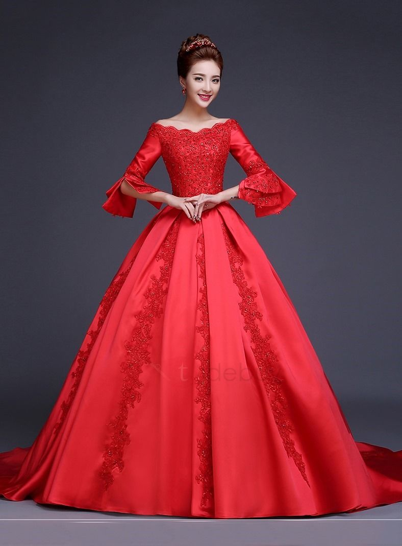 Red ball gown wedding dress  Pin by Kübra Cetin on Gelinlik  Pinterest  Dresses Ball gowns and