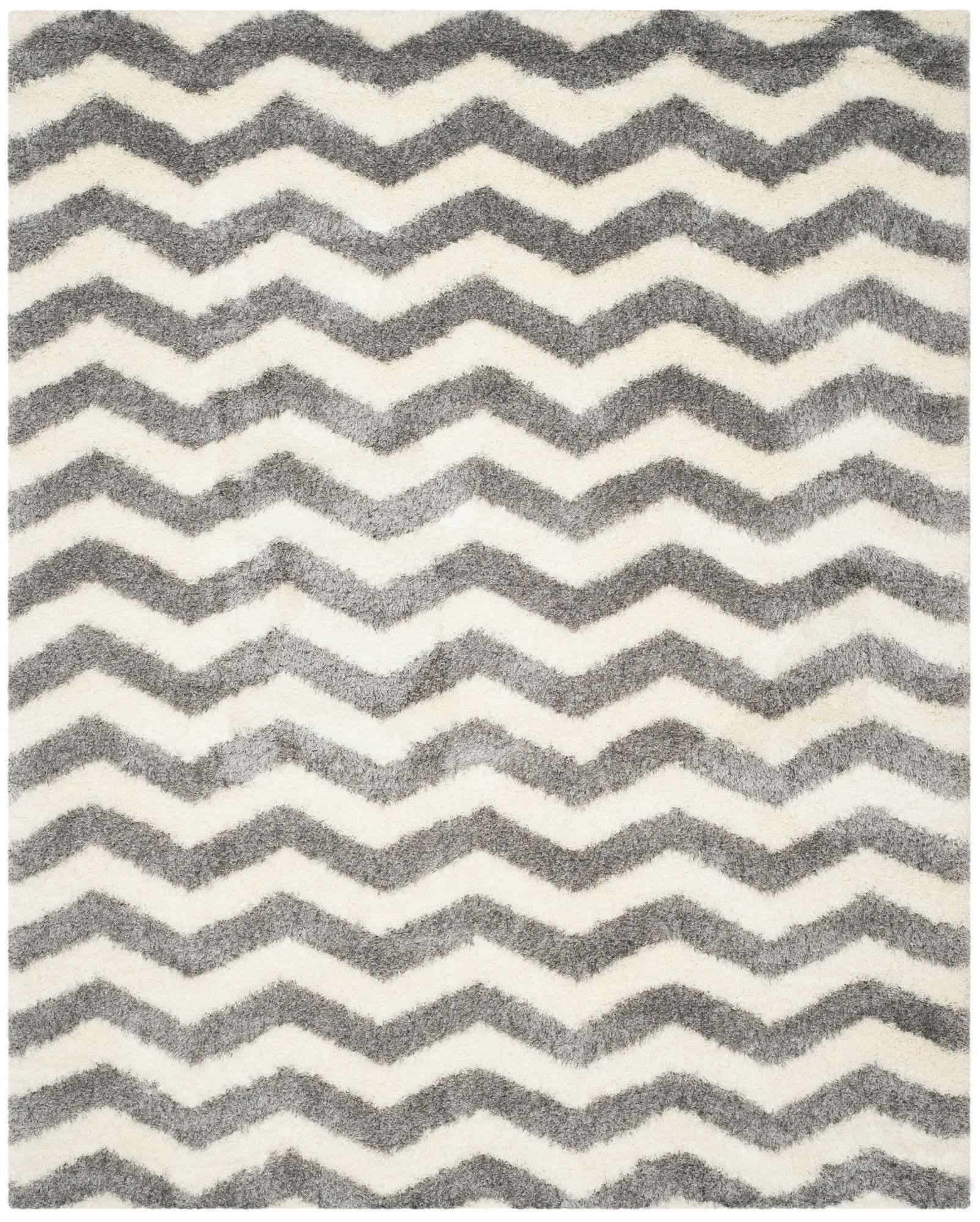 Dalley Ivory/Gray Shag Area Rug