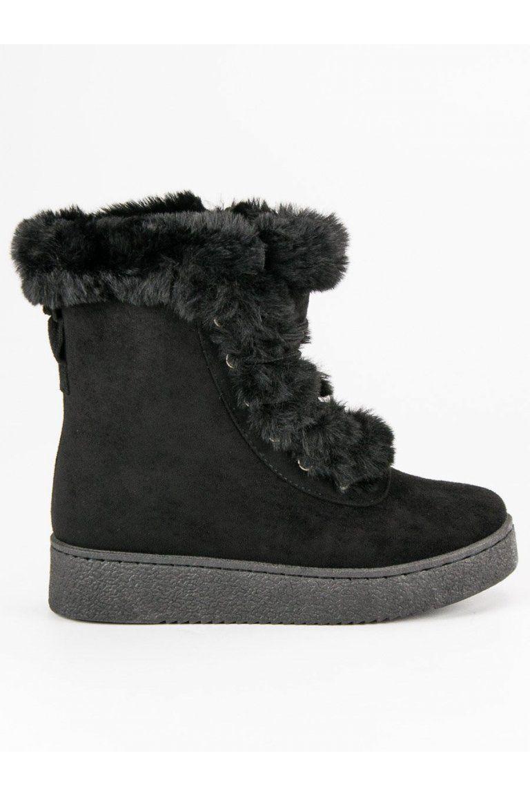 80639a9f066b Zateplené čierne topánky s kožušinou CnB