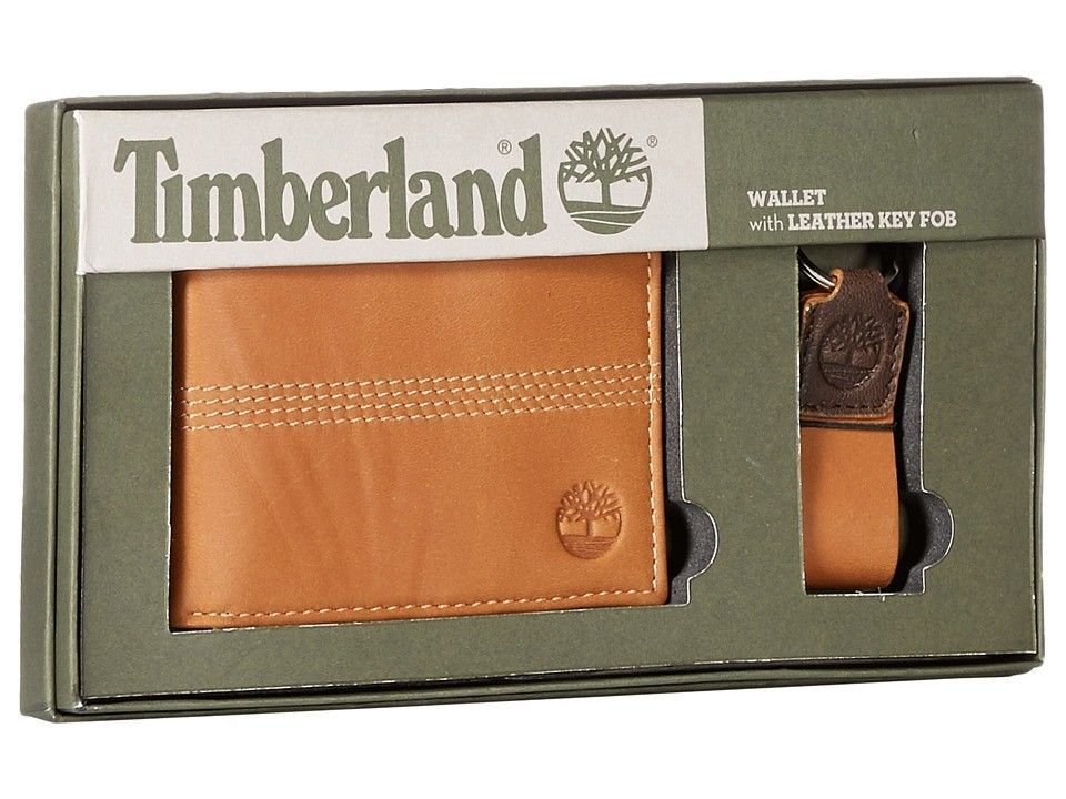 9401665e45fd Timberland Mens Passcase Leather Wallet with Key Fob, Tan, One Size ...