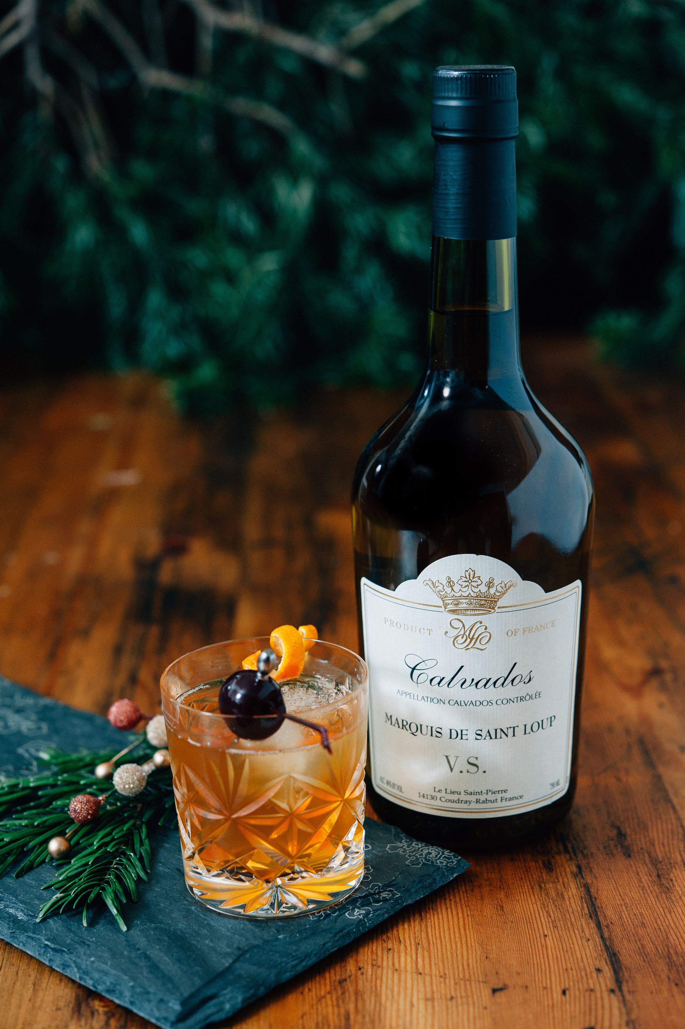 Winter photo shoot with Marquis de Saint Loup Calvados. #fooddecor #cider #farmtotable #foodphotography #beveragephotography #frenchcider #Calvados #cocktails