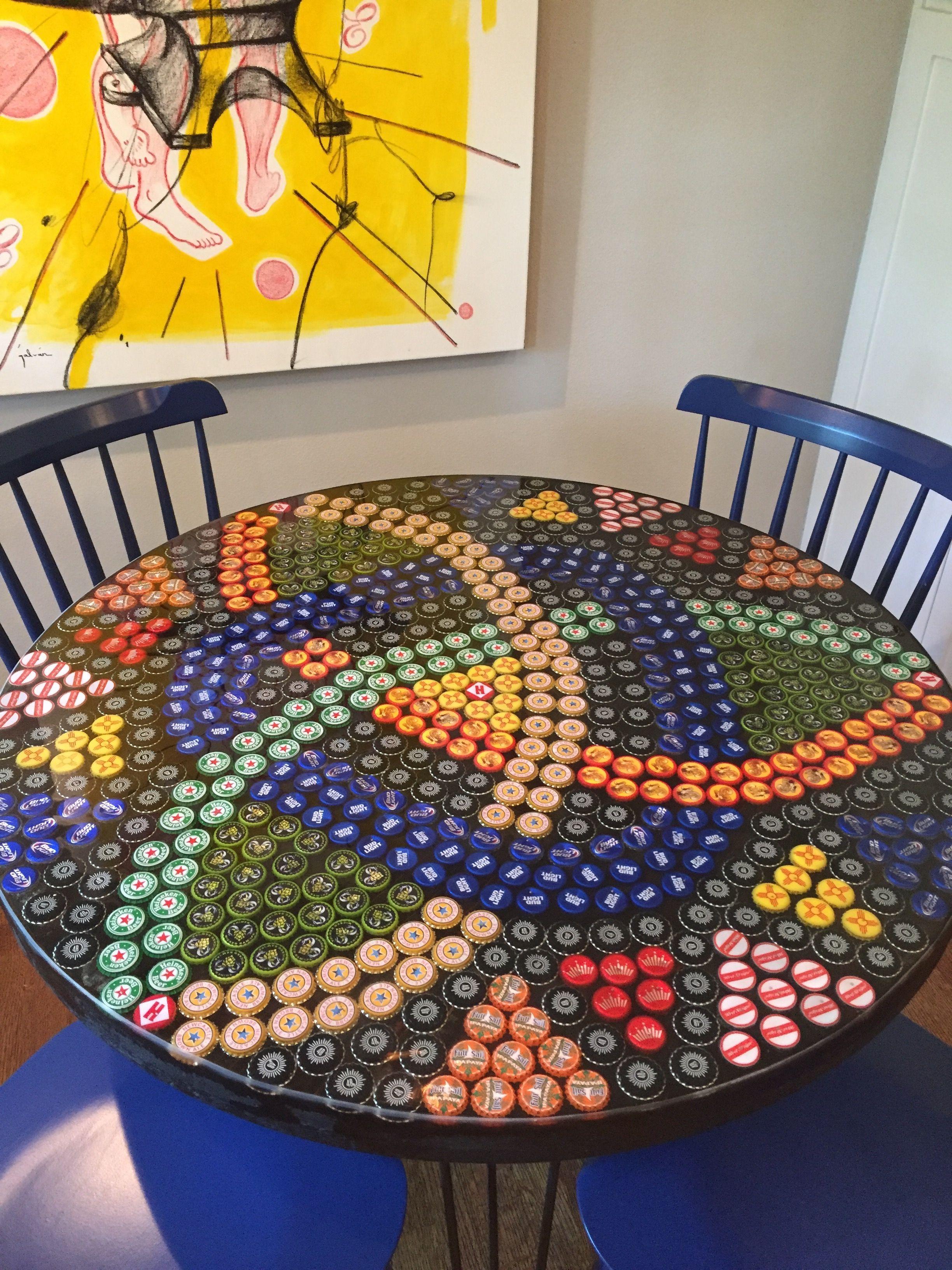 Bottle Cap Table Epoxy Resin Hairpin Legs Art
