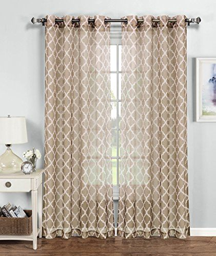 Awesome Window Elements Morocco Printed Sheer Extra Wide Grommet Curtain Panel