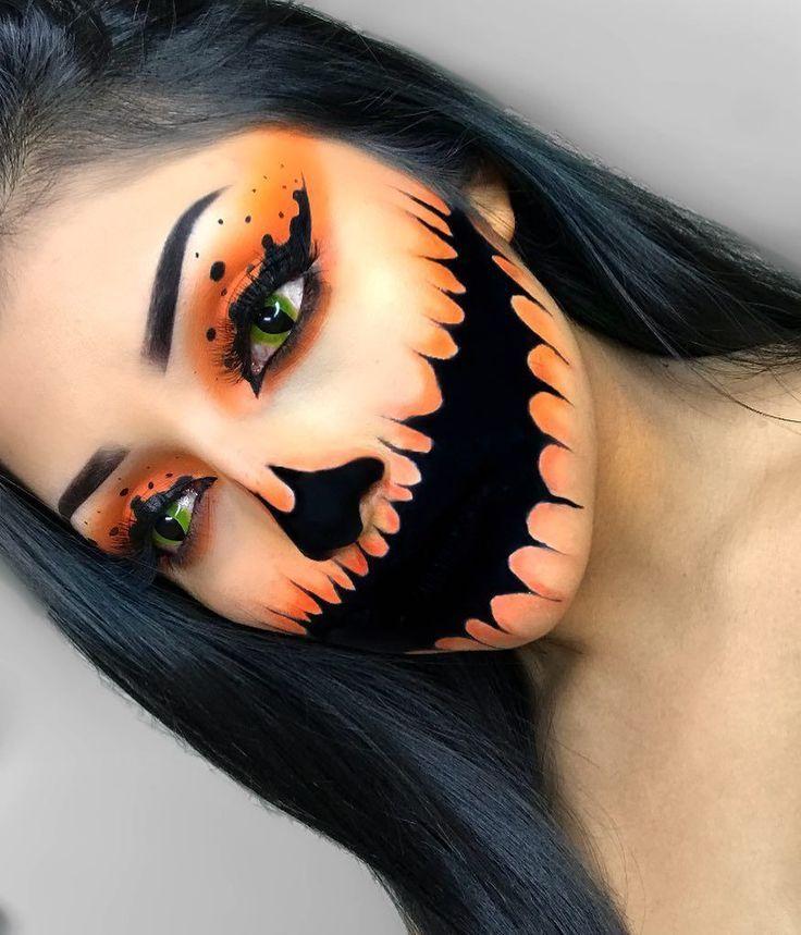 Creepy Pumpkin Halloween Makeup,  Creepy Pumpkin Halloween Makeup,
